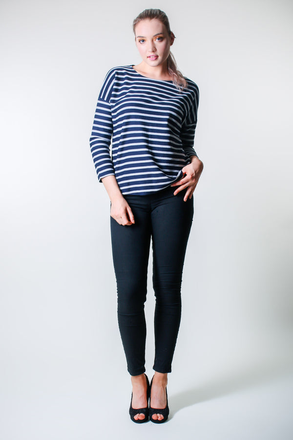 Long Sleeve Top - Dark and Blue Stripes