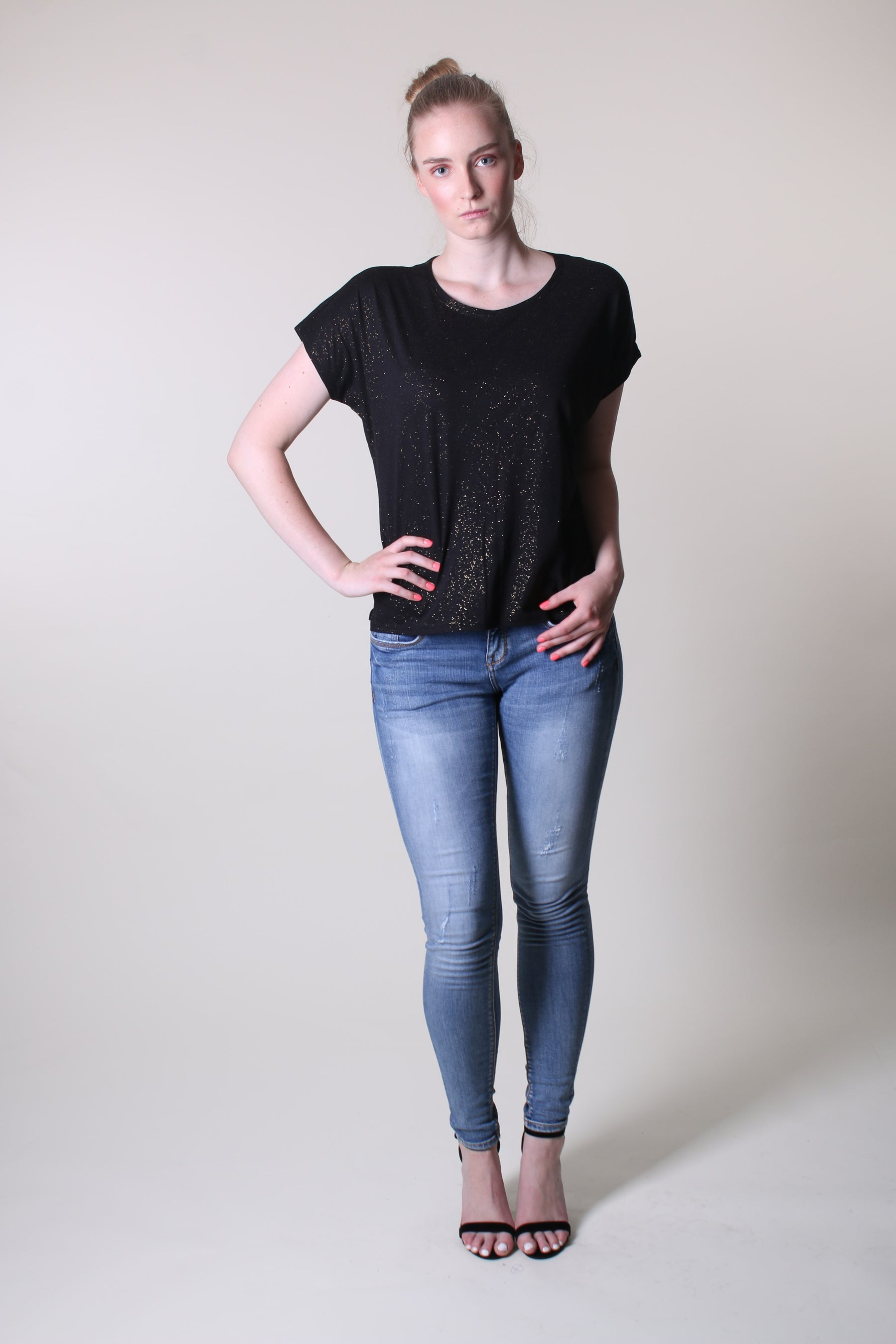 Short Sleeve Top - Black Golden Flakes