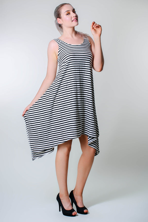 Midi Sleeveless - Narrow Stripes - Black