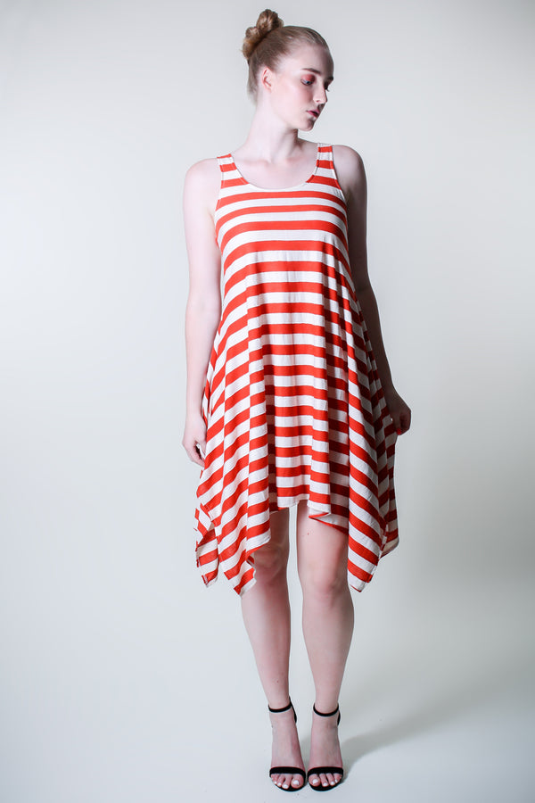 Midi Sleeveless - Wide Stripes - Red