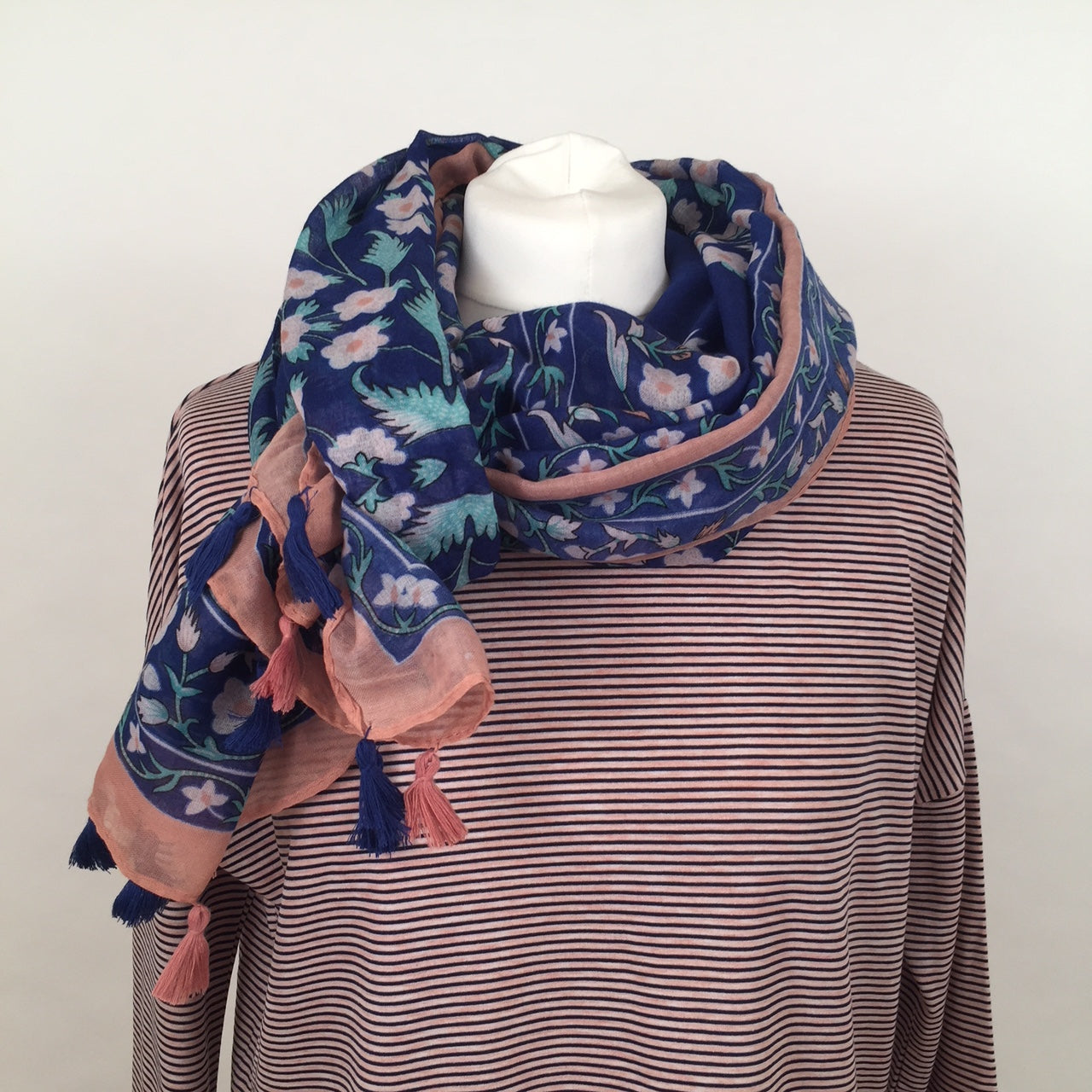 Scarf - Blue with Flowers