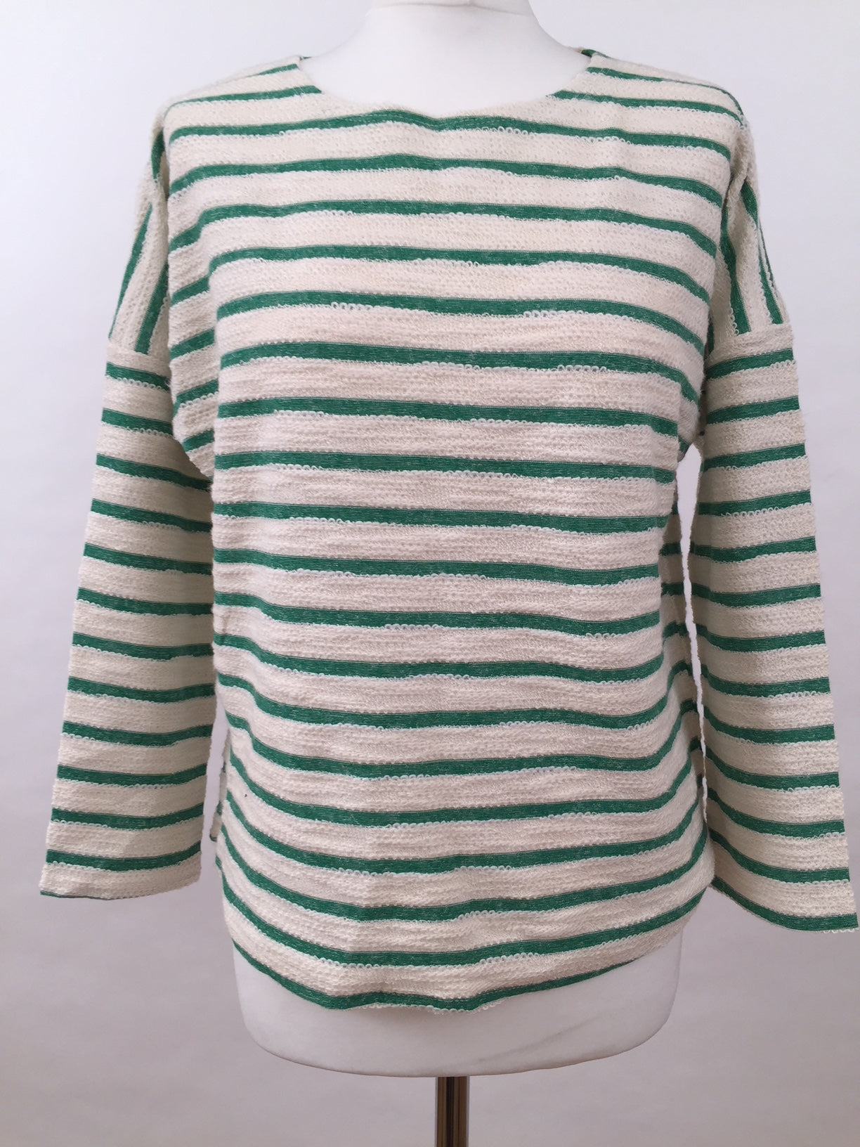Long Sleeve Top - Green Stripe Fluffy