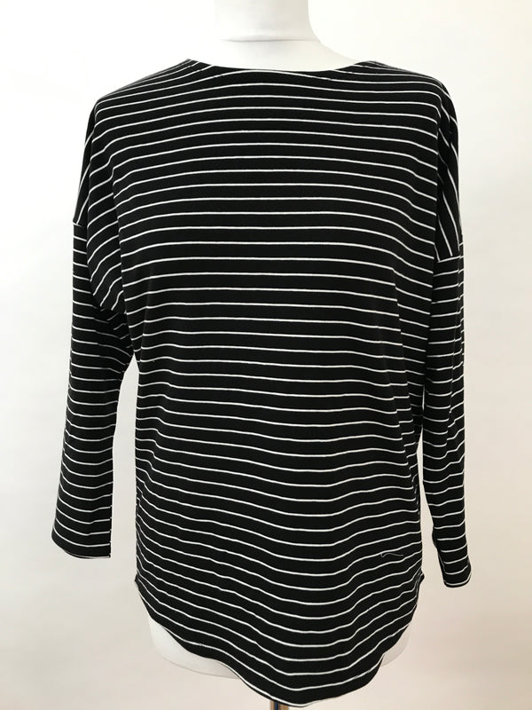 Long Sleeve Top - Black with White Stripes