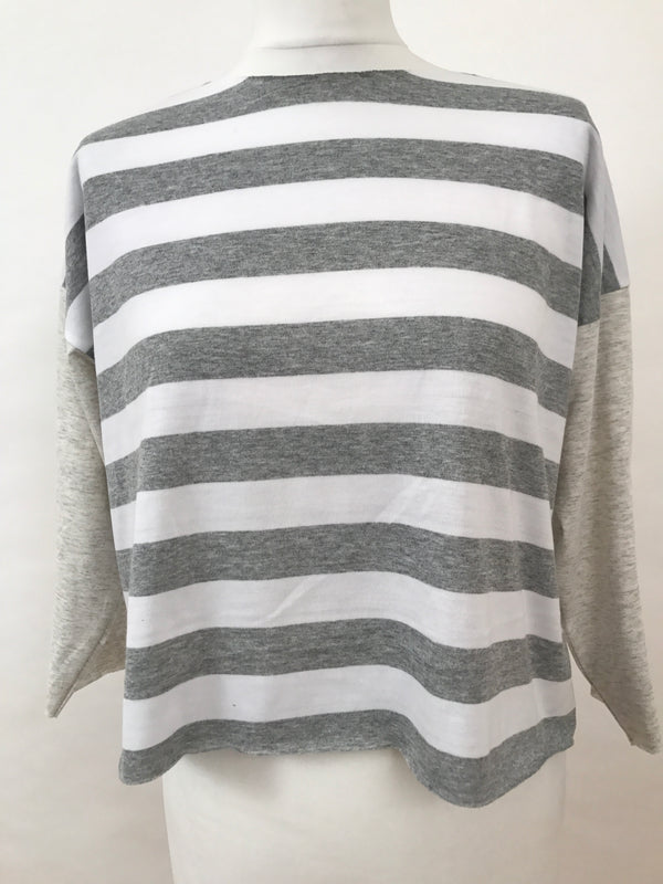 Masque 3/4 Sleeve T-Shirt - Grey Stripes