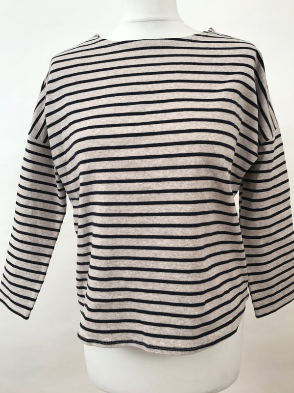 Long Sleeve Top - Grey and Blue Thin Stripes