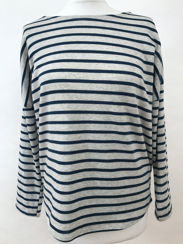 Long Sleeve Top - Grey and Light Blue Stripes