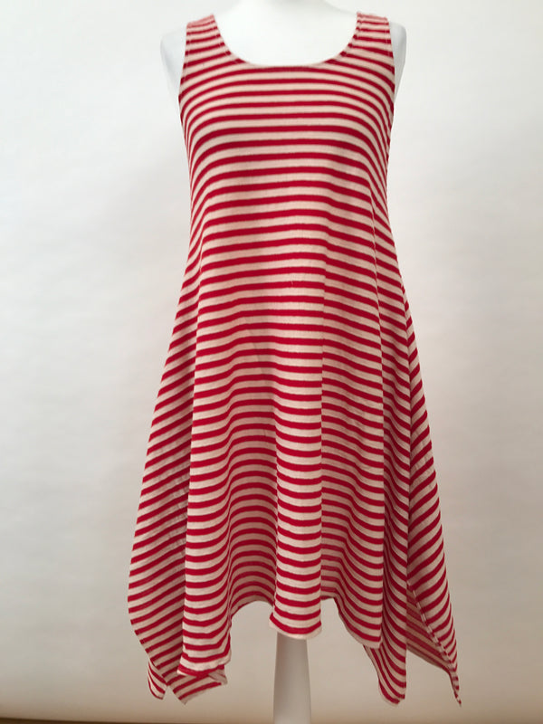 Midi Sleeveless - Narrow Stripes - Red