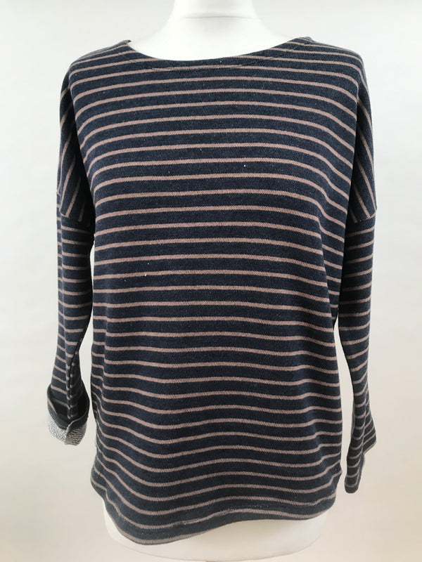 Upper Hip Length - Blue with Brown Stripes