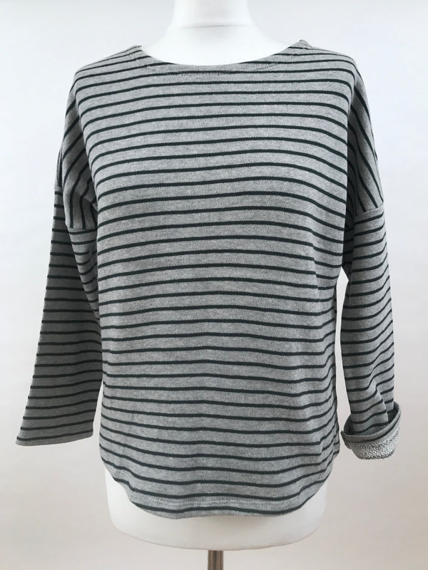 Upper Hip Length - Thin Grey Green Stripes