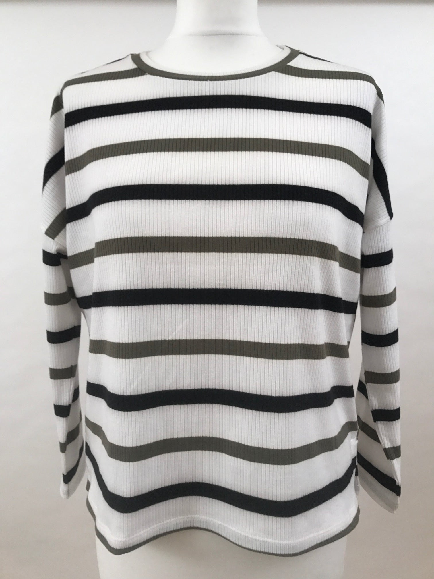 Long Sleeve Top - White with Blue and Green Stripes