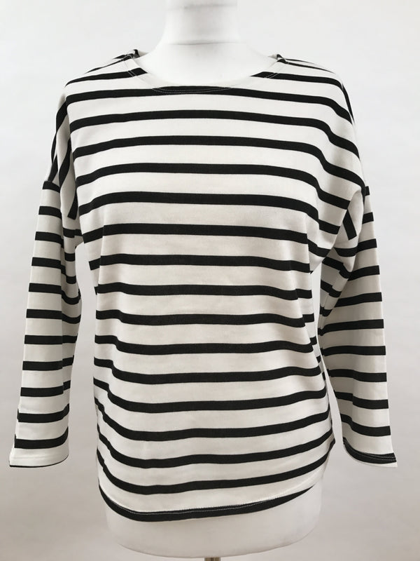 Black and White Stripes Print - Long Sleeve Top