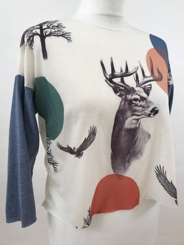 Masque 3/4 Sleeve T-Shirt - Deer and Circles