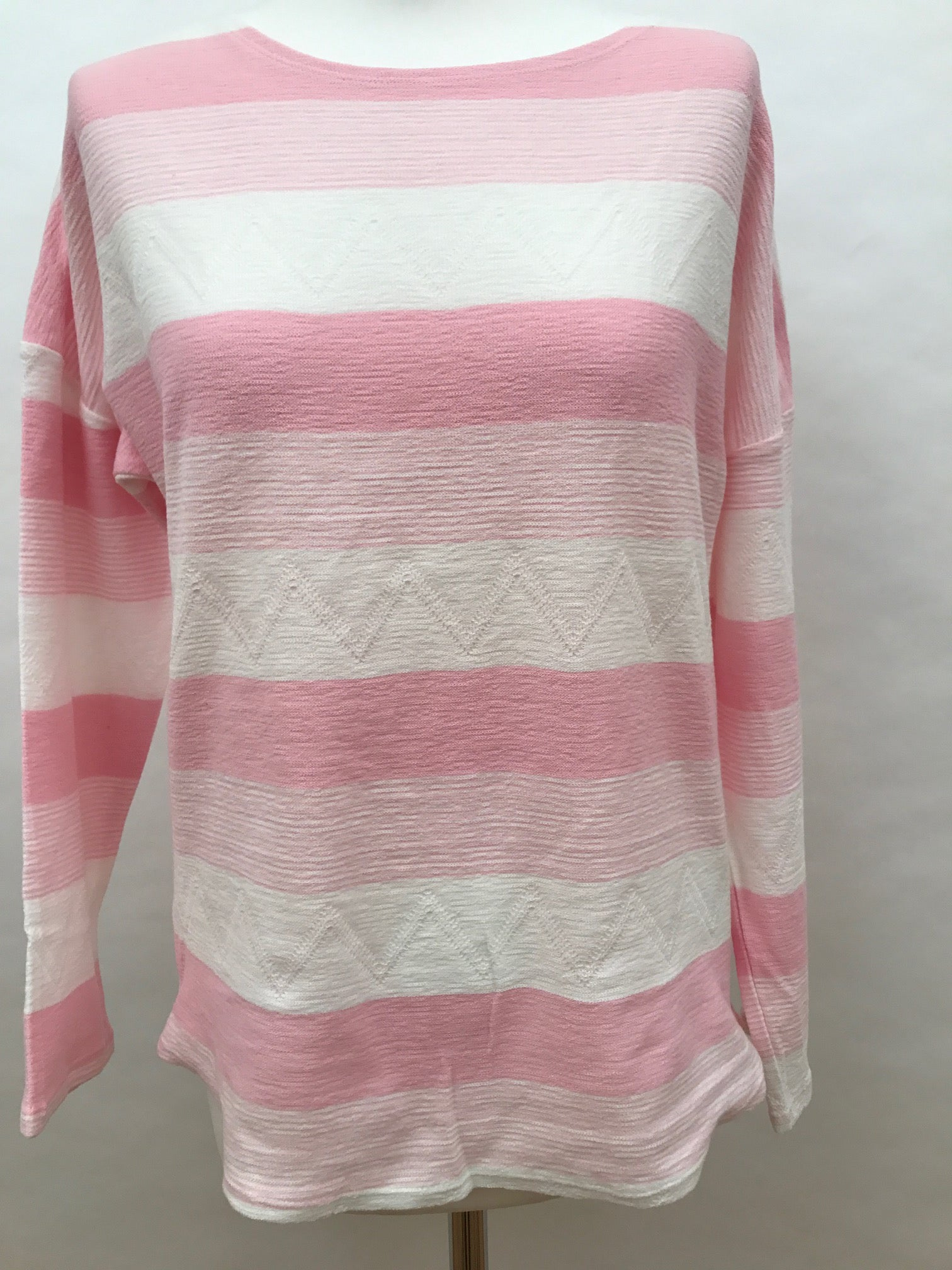 Long Sleeve Top - Pink Wide Stripe