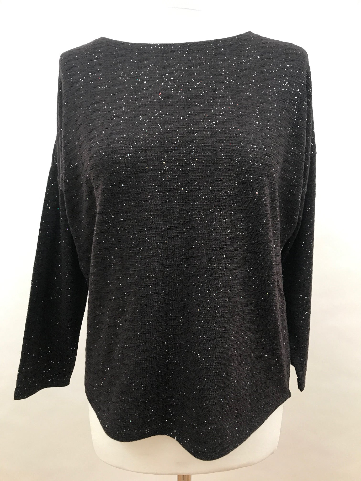 Upper Hip Length - Black with Shiny Sparkles
