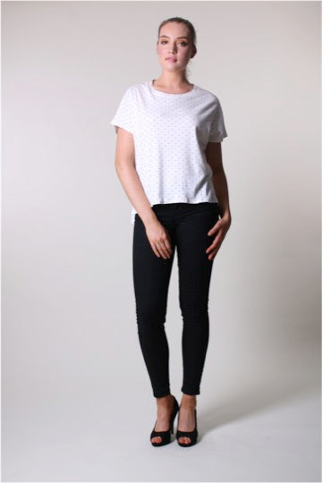 Short Sleeve Top - White and Black dots