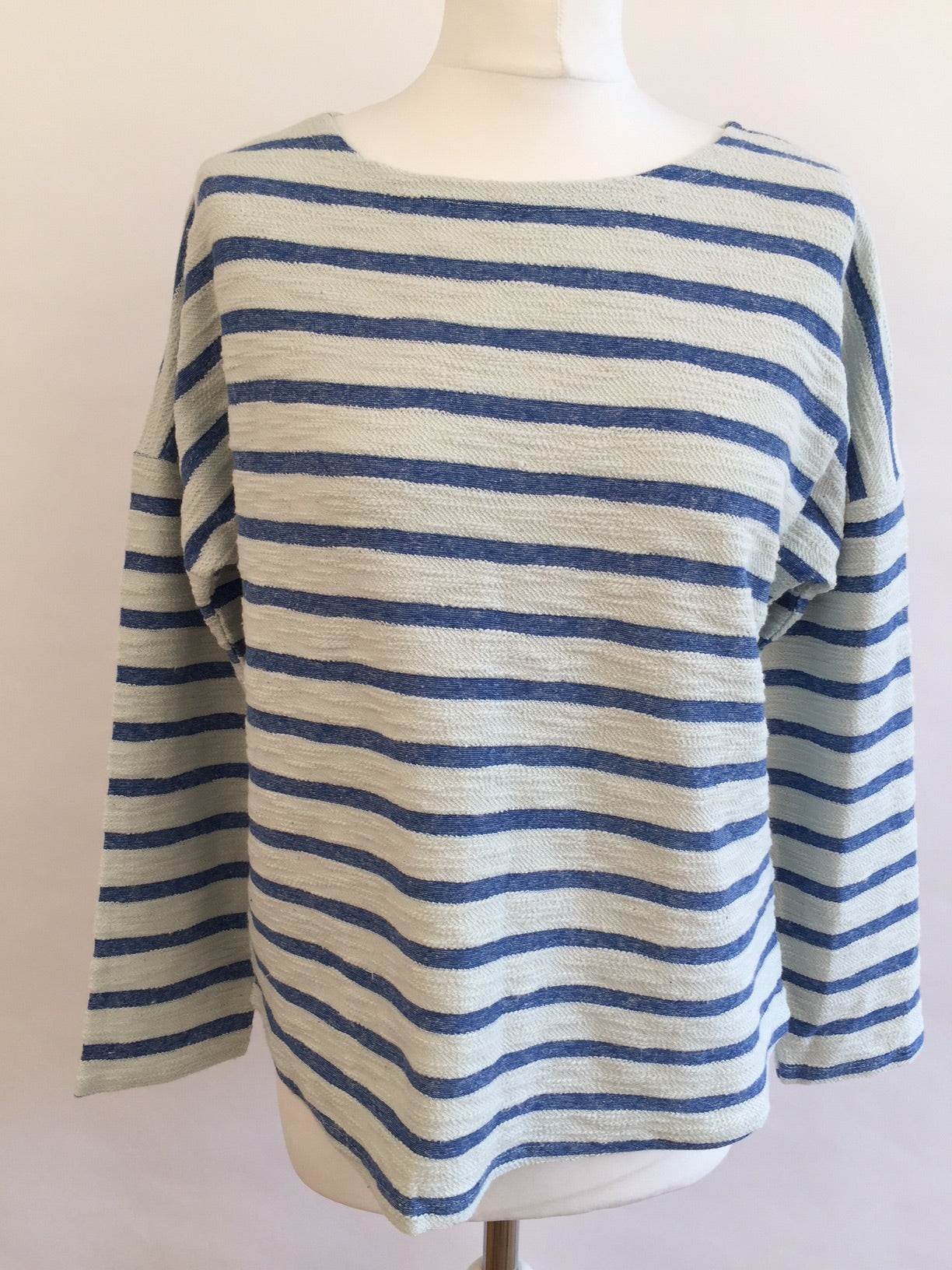 Long Sleeve Top - Blue Shades Stripe Fluffy