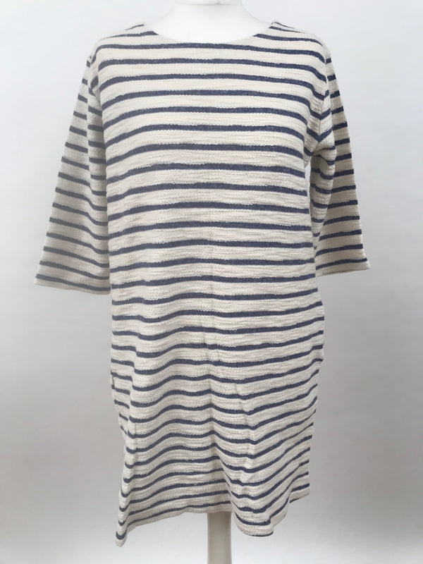 Fluffy Blue Stripe Long Sleeve Dress