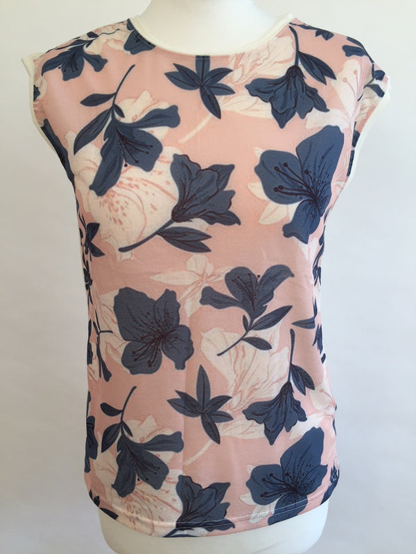 Masque Sleeveless T-Shirt - Pink with Flowers