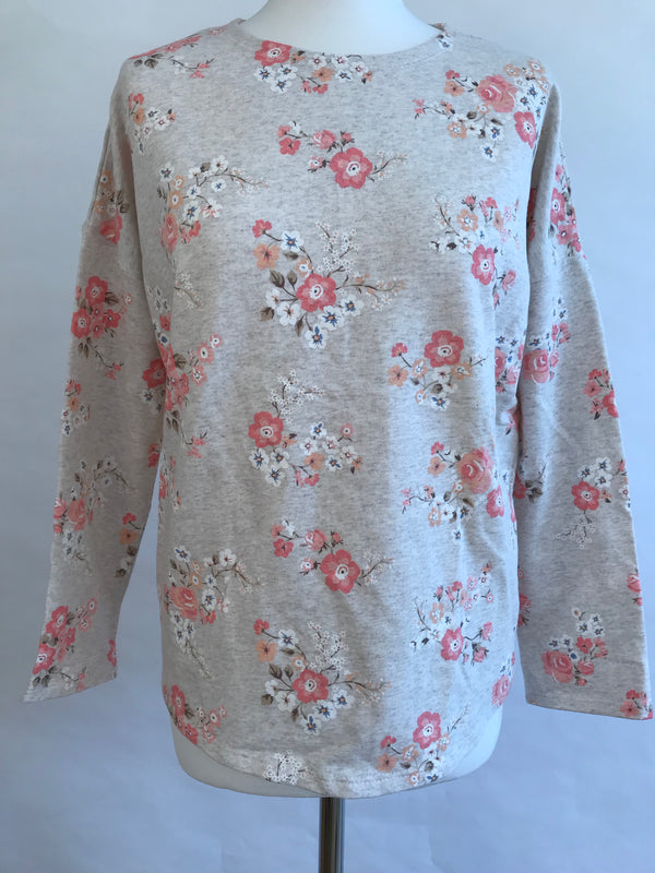 Flowers Pink & Grey - Long Sleeve Top