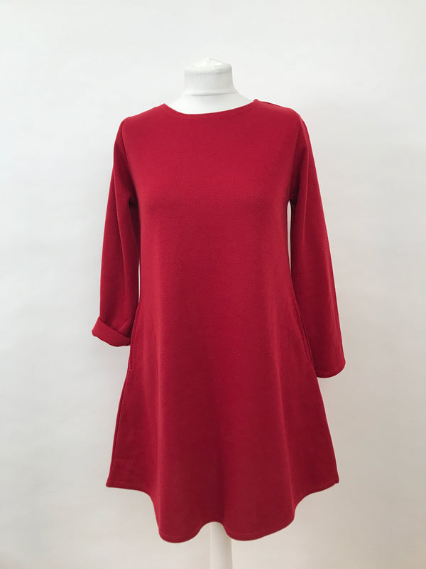 Bright Red Long Sleeve Dress