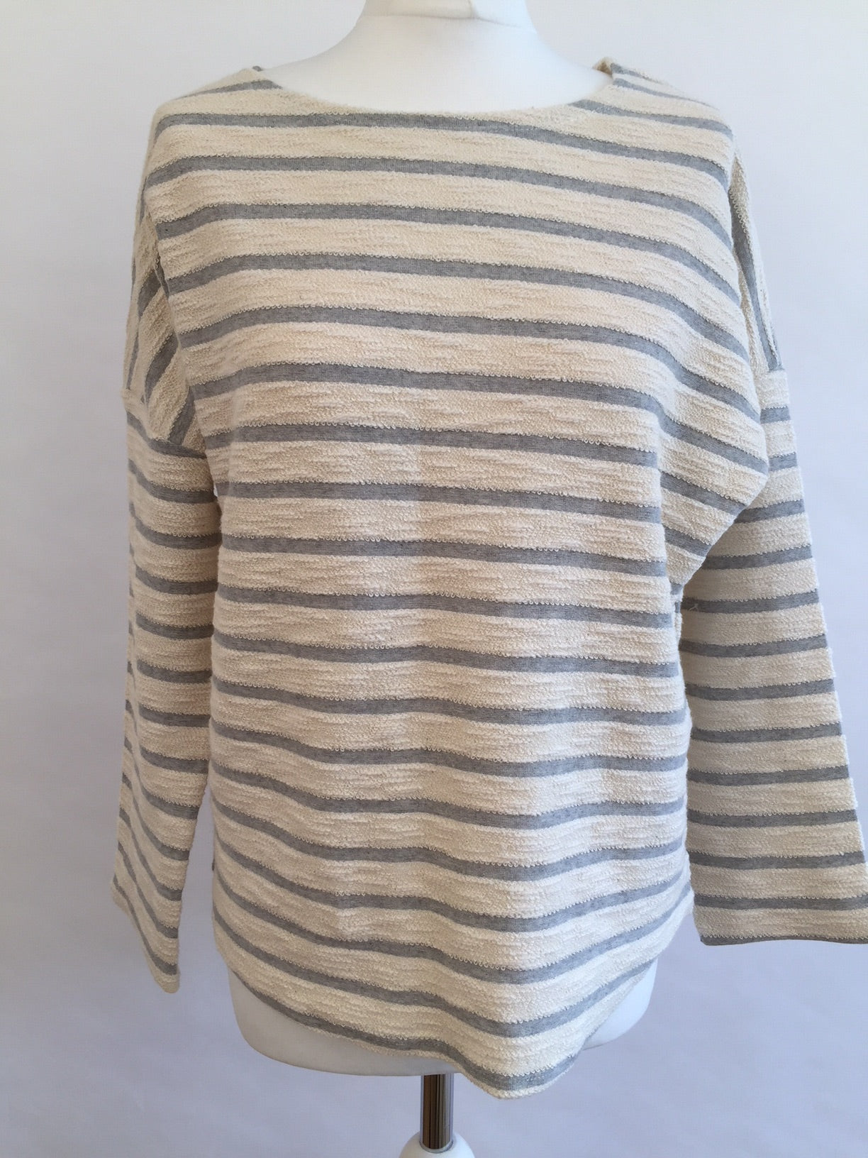 Long Sleeve Top - Grey Stripe Fluffy
