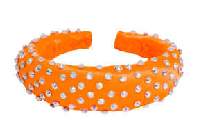Orange padded diamante headband