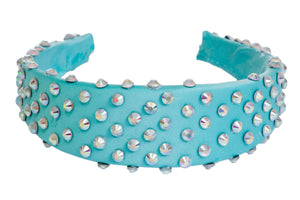 Blue padded diamante headband