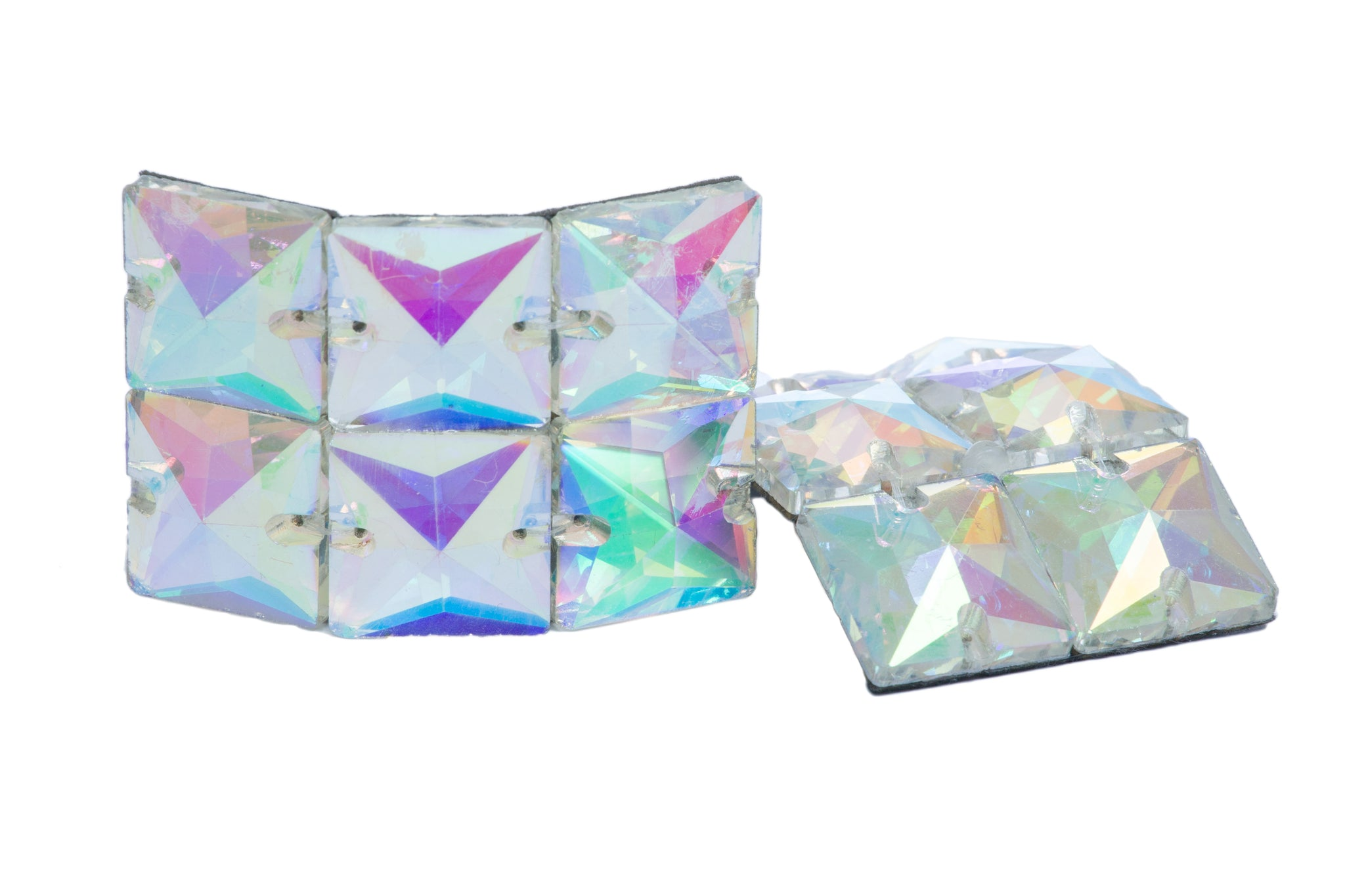 Medium square AB diamante buckles