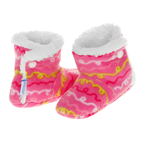 Baby Snoozies Booties - Pink Pattern