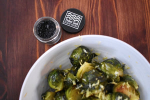 Hive to Home's Grape Seed Brussel Sprouts with Tidal Salt Black Rocks