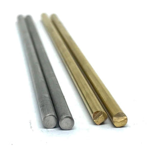 "5/32""(.156 inch) Round Pin Stock KnifeMaking- BRASS/ STAINLESS STEEL 6""- 2 pcs - Maker Material Supply"