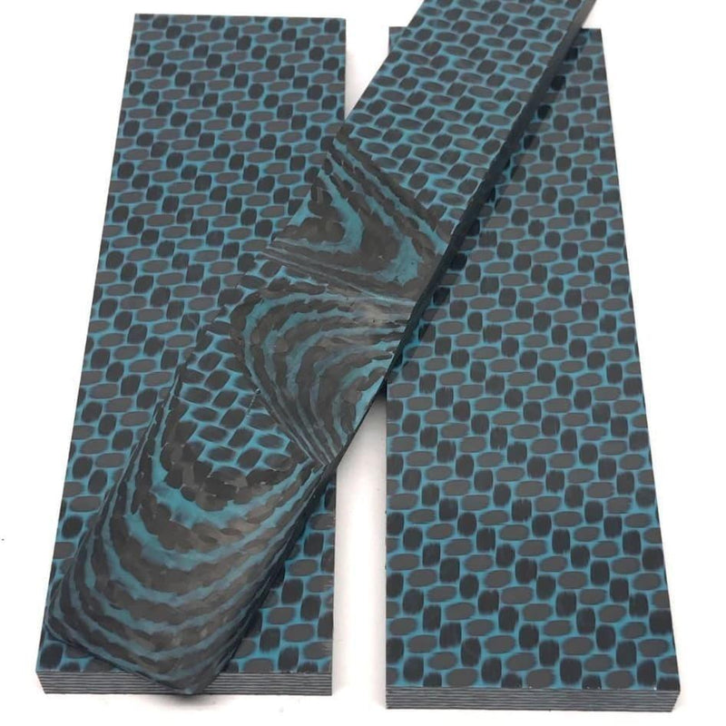"Carbon Fiber Twill Weave AQUA Resin- Knife Scales .28"" x 1.5"" x 5"" Breezy Waves - Maker Material Supply"