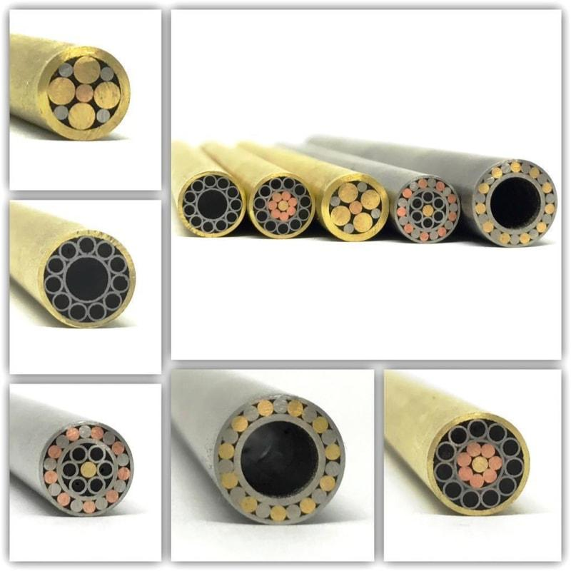 "Mosaic Pin- Knife handle 1/4"" x 6"" Brass + Stainless w Black Resin- 1 pin- MP5 - Maker Material Supply"