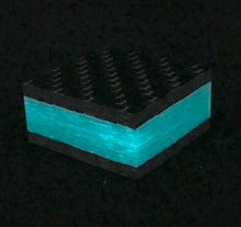 "Ring Blank- Aqua Glow Core Carbon Fiber 5/8"" x 1.25"" x 1.25"" CarbonWaves - Maker Material Supply"