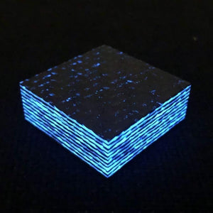 "Ring Blank-""Arctic Ice"" Blue Glow Carbon Fiber- 1/2"" x 1.25"" x 1.25"" - CarbonWaves - Maker Material Supply"