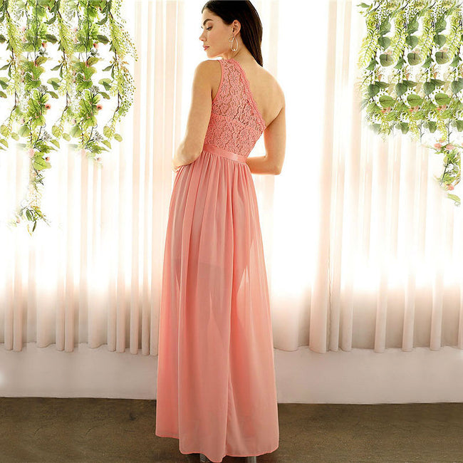 One Shoulder Ball & Abendkleid mit Spitzen Oberteil in Pink