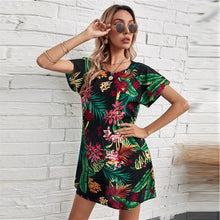 Lade das Bild in den Galerie-Viewer, Buntes Tropical Sommerkleid im Surf & Hawaii Stil schwarz