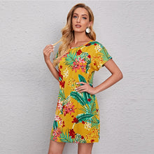 Lade das Bild in den Galerie-Viewer, Buntes Tropical Sommerkleid im Surf & Hawaii Stil gelb