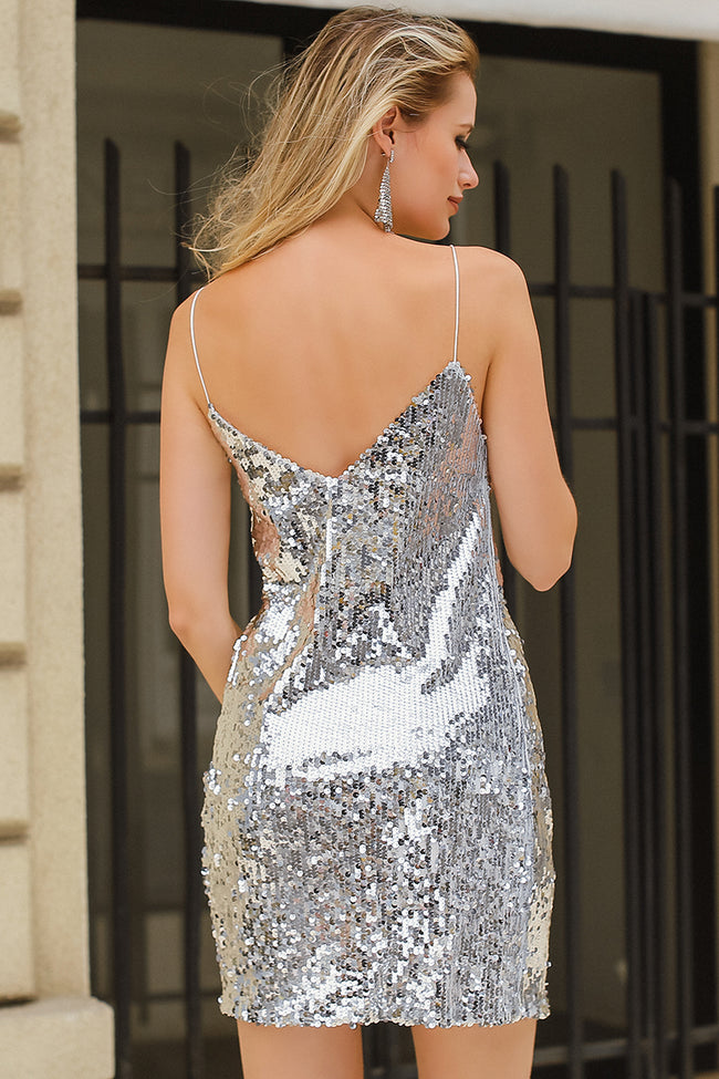 Paillettenkleid in Silber für echte Party Girls