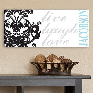Personalized Live, Laugh, Love Filigree Canvas Print