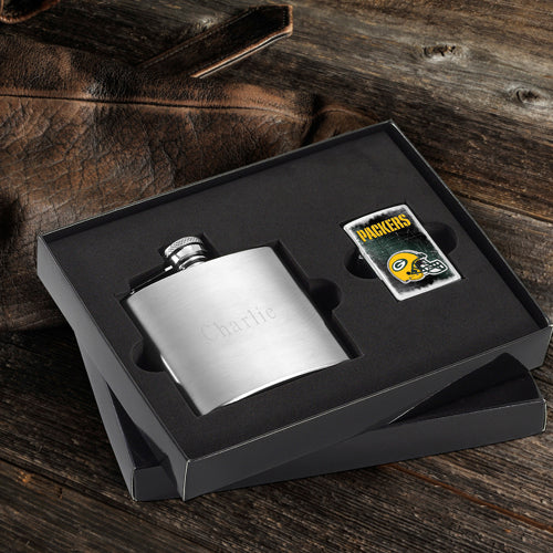 NFL Lighter and Brushed Flask Gift Set