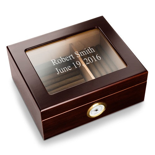 Personalized Mahogany Glass Top Humidor