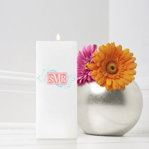 Cheerful Monogram Candle 3 x 6 Square