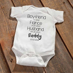 "Personalized ""Daddy To Be"" Baby Announcement Bodysuit"