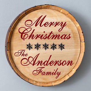 Personalized Christmas Snowflakes Wood Barrel Sign