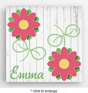 Personalized Flowers Kids Canvas