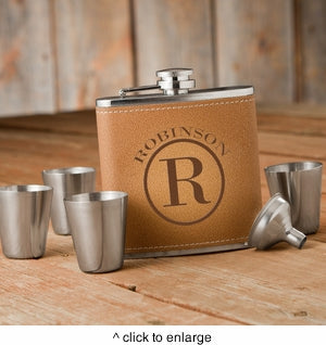 Monogrammed Tan Hide Flask Gift Set