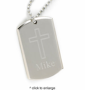 Large Inspirational Dog Tag with Engraved Cross