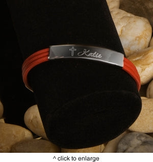 Inspirational Leather Bracelet with Engraved Cross