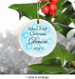 Personalized Baby Boy's First Christmas Ornament
